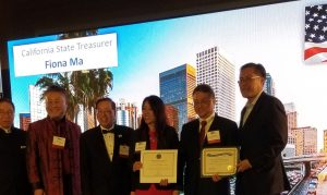 California State Treasurer Fiona Ma making a special presentation to the HKASC